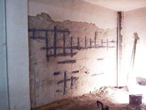 Muro con tratamiento inhibidor de la corrosión